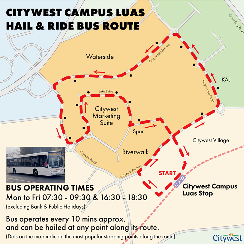 Citywest Campus Luas Hail & Ride Bus Route