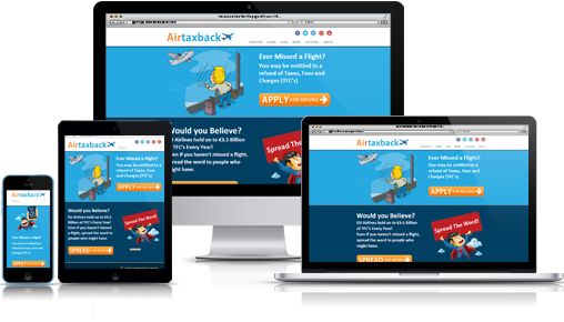 Airtaxback ecommerce responsive design web site.