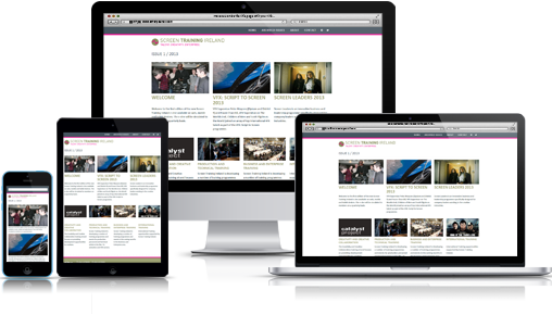 Screen Training Ireland responsive web design web site and newsletter